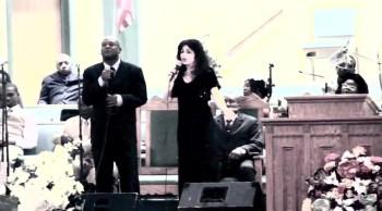 "ISAACSON BUTEAU and TARESA BLUNDA sing ""The Prayer"" (in NYC church)"