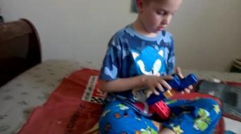 Ryan builds a gun from blocks