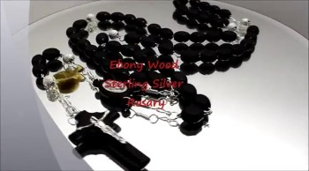 Ebony Wood Sterling Silver Rosary