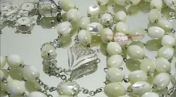 Mother of Pearl Beads Sterling Silver Rosary