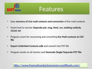 Windows live mail contacts recovery utility to convert live mail contacts to PST, MSG, vCard, CSV