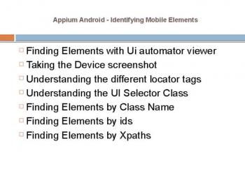 Appium mobile app automation testing online training