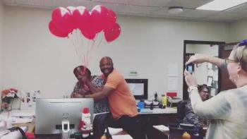Red Balloons Suprise for School Secretary