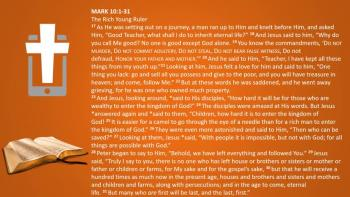 March 7th - Mark 10:1-31  -  Reading