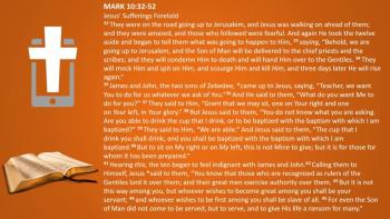 March 8th - Mark 10:32-52 - Reading