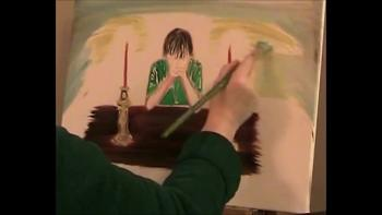 Oil Painting Art of my Son Praying