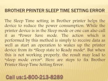 How To Fix Brother Printer Sleep Time Setting Error?1-800-213-8289