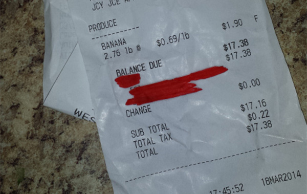 Grocery bill that was paid my angel in disguise.