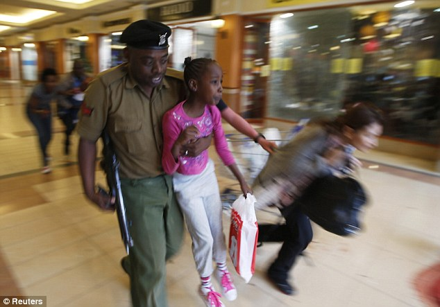 Police lead Faith and her children to safety.