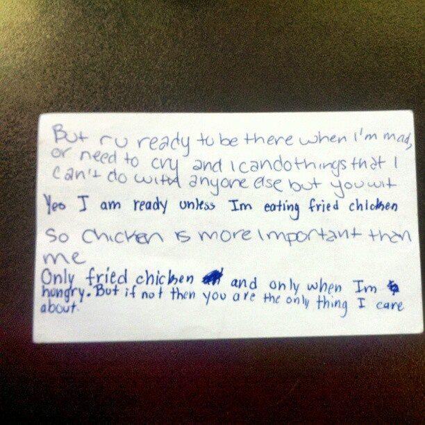 Fried chicken love note.