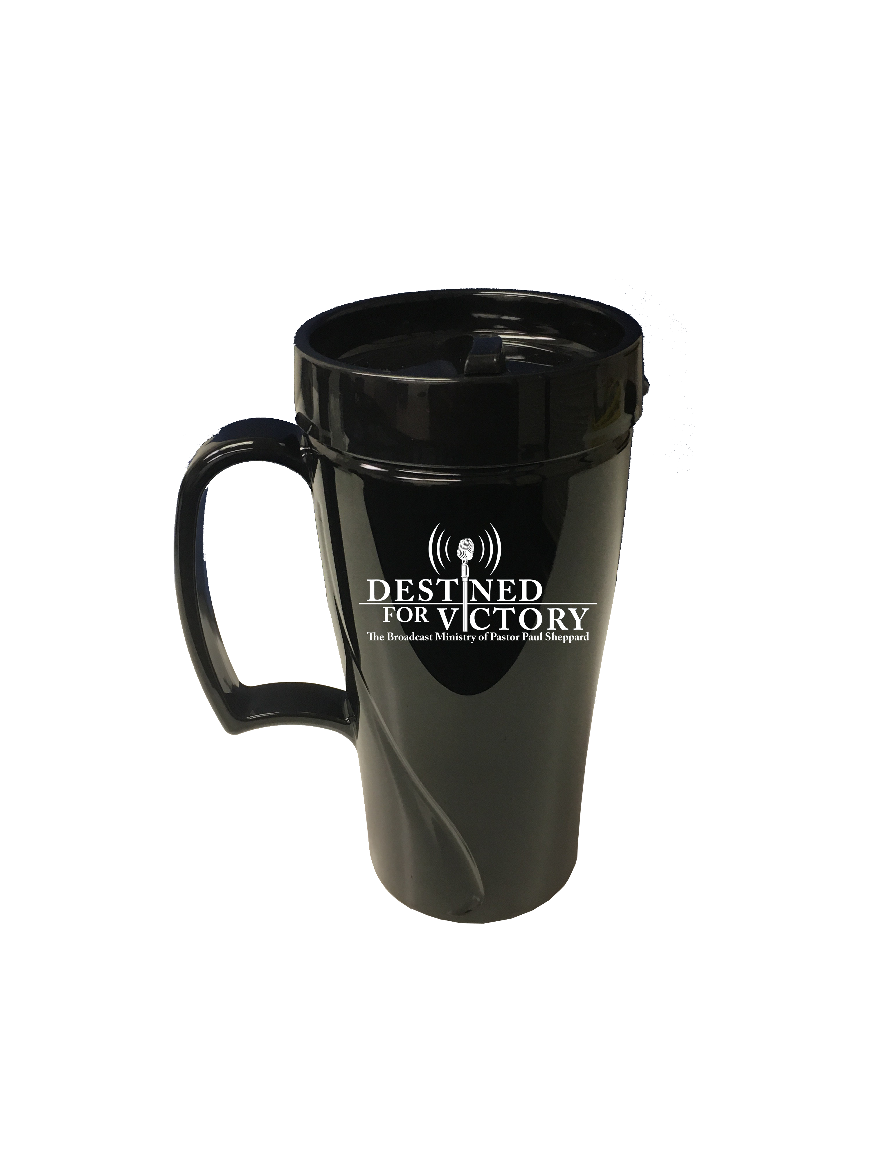 Destined for Victory Travel Mug (16 oz black travel mug)